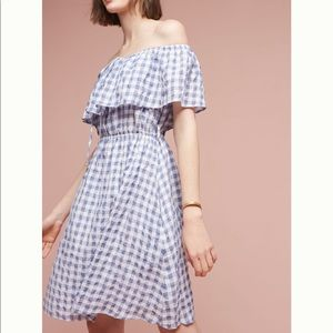NWT Anthro Kinsey Off the Shoulder Gingham Dress